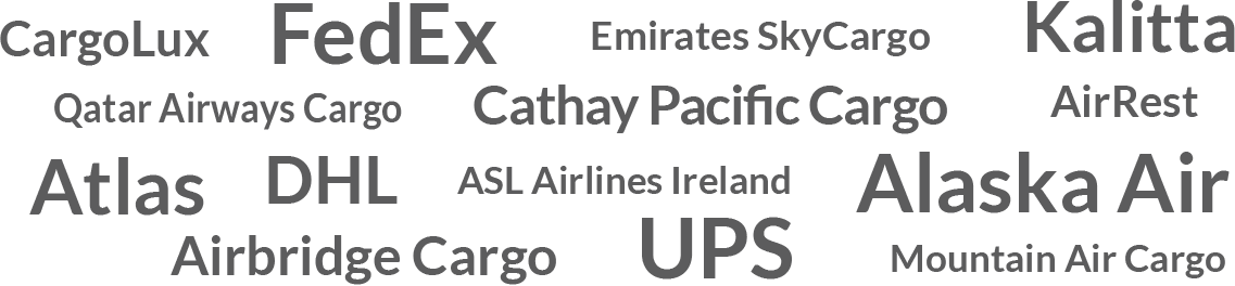 List of some VisionSafe's cargo clients along with others, including FedEx, UPS, Atlas Air, DHL, Emirates SkyCargo, and China Airlines Cargo to name a few