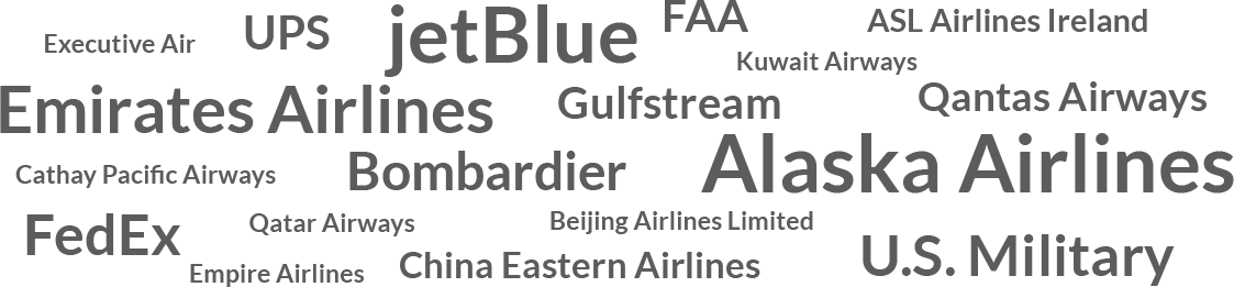 List of some VisionSafe's commercial clients along with others, including jetBlue Alaska Airlines Emirates Airlines, Gulstream, Qanta Airways, China Eastern Airlines, Bombardier and the US Militar to name a few