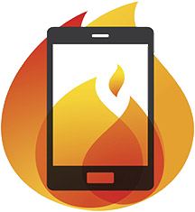 Lithium-ion electronic device on fire icon